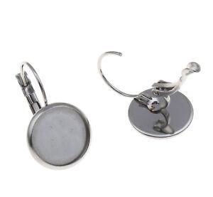 100 x Surgical Steel 12mm Bezel Lever Back Drop Earrings Hypo-Allergenic