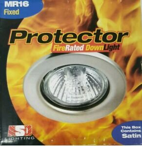 1 x Fire Rated Downlight MR16 in SATIN IP20 - Recessed Ceiling Spots