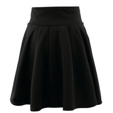 Womens Ladies Skirts Short Flared Plain Mini Skater Swing Party Skirt Size 6-16