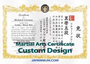 Martial Arts Rank eCertificate JKD, Judo, Karate, KungFu, Ninjutsu,TKD, HKD,MMA