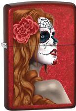 Zippo 2015 Catalog Day Of Dead Girl Skull W/ Rose Candy Apple Red Lighter 28830