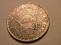 1352 Morocco 5 Francs Ch BU Lustrous White Original French Maroc Silver Coin