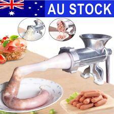 AU Manual Kitchen Meat Grinder Mincer Stuffer Table Hand Sausage Filler Maker
