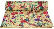 Indian kantha Quilt Handmade Beige Bird Print Queen Size Cotton Throw Bedspread