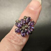 VTG Purple Rhinestone Costume Jewelry Ring - Sz 6.25 Lavender Violet Sparkle Fun