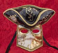 Maschera Casanova Di Venezia Bauta Nero E Dorata Carnevale Ballo Veneziano 865