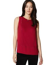 Ann Taylor LOFT - S - NWT - Vibrant Cranberry Ladder Lace Mixed Media Shell Top