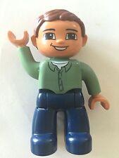 *NEW* Lego DUPLO Male SAND GREEN Top DARK BLUE Legs BROWN Hair