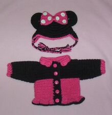 American Girl Crochet Hot Pink Minnie Mouse Sweater & Hat Fits American Girl 18""