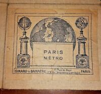 ANCIENNE CARTE FRANCE -PARIS - METRO,GIRARD et BARRERE 1940 antica carta vintage
