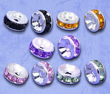 100 SILVER PLATED MIXED RHINESTONE RONDELLE SPACER BEADS~8mm~Bracelets (92G) UK
