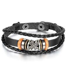 Celtic Cross Wrist Band Bracelet Multi Wrap Leather Black Charm Bead Men