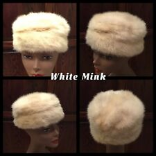 Vintage White Mink Pillbox Hat 21� Satin Lined Lloyds Robarts Furriers Very Nice
