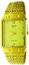 New Old Stock Square Citizen Gold Face S Steel Water Resist Watch 1032-R55179-KA