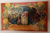A Happy Christmas Santa St. Nicholas BLUE Robe Postcard 1916 Germany serie 7091