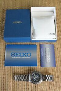 TITANIUM SEIKO 7T92-08DO 200M DIVER BLUE DIAL CHRONOGRAPH BRACELET WATCH BOX SET
