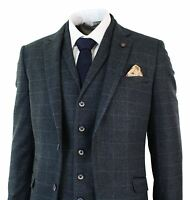 Mens Navy Blue Check Herringbone Tweed Vintage Tailored Fit 3 Piece Suit Smart