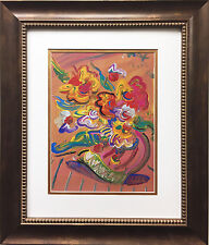"Peter Max ""Vase with Flowers II"" Newly CUSTOM FRAMED Print Art POP psychedelic"