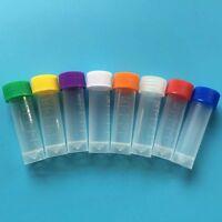 5ml Plastic Test Tubes Vial Screw Seal Cap Pack Container 10-100pcs