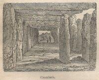 A0982 Cromlech - Stampa Antica del 1911 - Xilografia