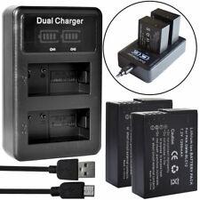 2X DMW-BLC12 Battery + Dual Charger for Panasonic Lumix DMC-FZ200 FZ300 GX8 G85