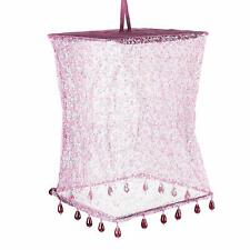 Shabby Chic Square lampshade Pendant shade Purple and Beaded with White Flowers