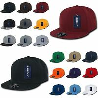 DECKY Plain Blank Retro Fitted Flat Bill Baseball Solid Color Hat Cap RP