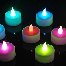 12 x Colour Changing LED Tea Light Candles Flameless Flickering Wedding Home New