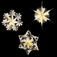 SET of 3 Christmas Foil Ceiling Decoration Hanging 40cm - Gold / Ivory