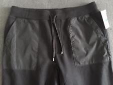 MICHAEL KORS BLACK CONTRAST POCKETS FLEECE LINED TRACK PANTS SIZE XL