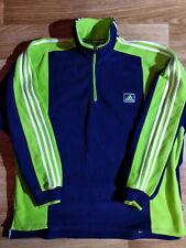 Adidas 90's Vintage Mens Fleece Sweatshirt Track Jacket Blue Neon Green Hype
