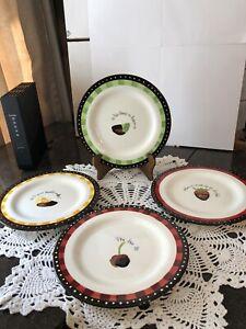Oneida Chocolate Dipped Dessert Plates Tanya Lee Designs-Set Of 4--8 3/4''