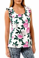 New Ladies Floral Summer Blouse Sleeveless Vibrant Stunning Holiday Top Uk 10-20