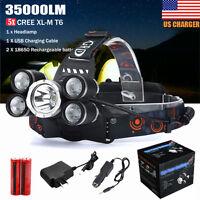 35000 Lumens 5x Cree T6 LED Headlamp USB Rechargeable 18650 Headlight Head Torch