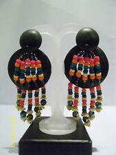 Nero e Arcobaleno Perline Di Legno Orecchini Pendenti Grande Massiccio