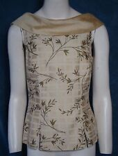 Linda Segal Floral Blouse Sleeveless Fitted Lined Silk VTG Top Small CUTE