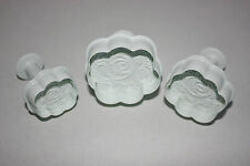 Rose Plunger Cutter, Set of 3. SugarCraft, Cake Decorating Fondant, Baking