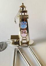 Windspiel Leuchtturm Silber mit Swarowski Kristallen Bestückt  Silber Plattiert