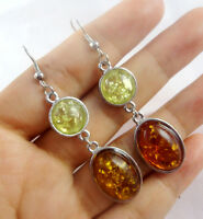 Precious Modernist Roundness multicolor PRESSED  AMBER DANGLE EARRINGS P14