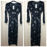 ZARA BLACK FLORAL PRINT VELVET MAXI WRAP KIMONO DRESS SIZE UK S BNWT RRP£70