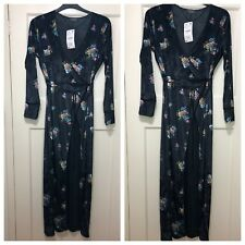 ZARA BLACK FLORAL PRINT VELVET MAXI WRAP KIMONO DRESS SIZE UK L BNWT RRP£70