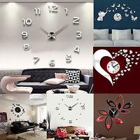 Ee _ 3D Bricolaje Reloj de Pared Moda Espejo Adhesivo Cuarto Estar Hogar Moderno