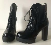 Black Patent Lace Up and Zip Chunky Ankle Boots Size UK 7
