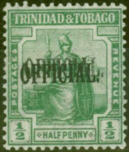 Trinidad 1916 1/2d Green SG014a Opt Double Mtd Mint