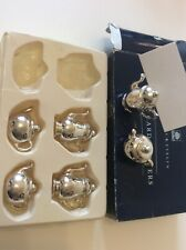 Crabtree & Evelyn 6 Teapot Place Card Holders Silver Plated