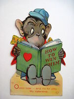 Vintage Antique Mechanical German Valentine w/ Monkey Reading A Book *