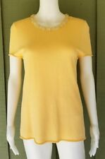 CHRIS BENZ Butter Yellow Beaded Knit Tank Top Large L