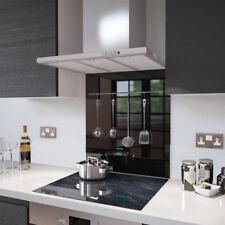 Black with Utensil Rail - Glass Splashback - 100cm Wide x 75cm High