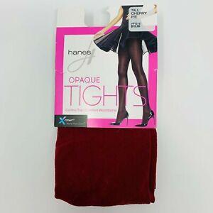 Hanes X-Temp Control Top Opaque Tights Tall Cherry Pie Red Women's 60 Denier