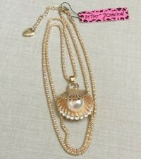 Betsey Johnson Gold Long Necklace with a Crystal Shell Pearl Pendant Brand New!